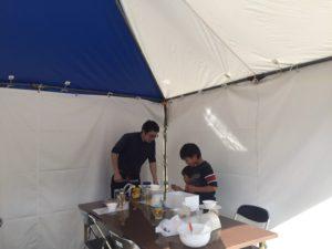 「志フェスタ2018」佐賀城歴史本丸館子供も体験中です。